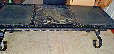 Antique Rare Black  Slate  With A Ship In Middle Heavy Duty Rod Iron Table