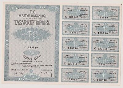 Turkish bond. 20 Lira. 1964. (UU)