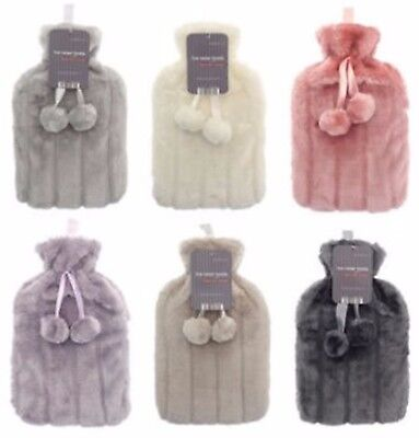 Luxury Hot Water Bottle with Best Plush Faux Fur Cover 2 Litre- Soft Plush