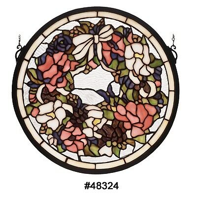 15 Inch W X 15 Inch H Revival Wreath & Garland Medallion Stained Glass Window