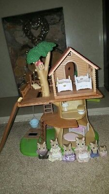 sylvanian families tree house with 5 characters