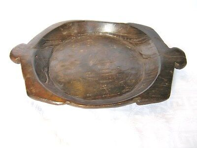 Old Primitive Carved Wooden Bowl Rustic Farmhouse Kitchen Shallow Fruit Bowl
