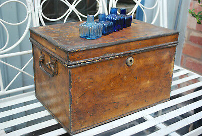 vintage original collectors  distressed painted tin trunk deed shoe box
