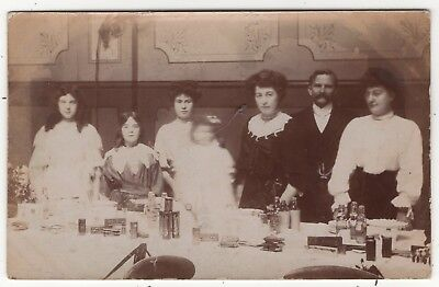 Family At Refreshment Stall At Charity Event ? Old Real Photo Postcard