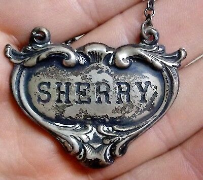 Old STERLING Silver SHERRY Bottle DECANTER Hanging LABEL Tag Sign