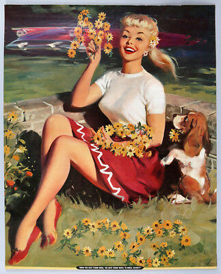 Rare Bill Medcalf Vintage GGA Pin-Up Poster Print 1960 Leggy Blonde w/ Daisies