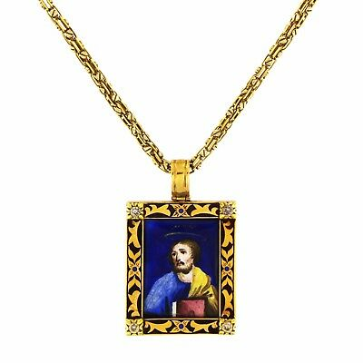 Antique Enamel Russian Icon in Yellow Gold with Diamonds