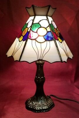 Vintage L&L WMC Stained Slag Glass Shade Brass Base Table Lamp Balloons #9877