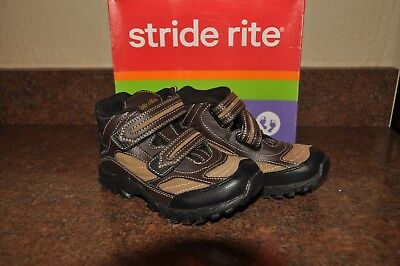 12 M NEW Boys Stride Rite High Top Rugged Ritchie Brown Velcro Shoes Boots