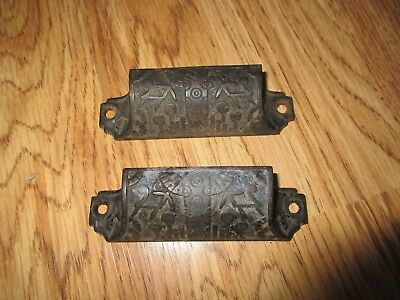 Antique Cabinet Drawer Pulls Cast Iron Ornate Lot of 2 - East Lake