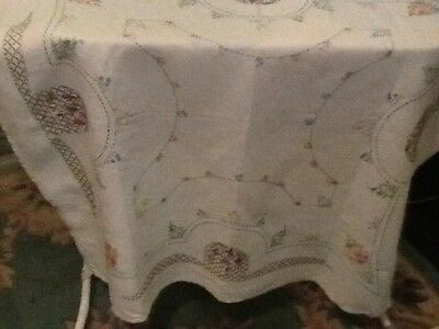 "Vintage  Hand Embroidered  Tablecloth Beautiful   Flowers  41""Sq Good Condition"