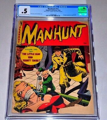 Manhunt 14 CGC .5 LT/OW Pages CLASSIC Cover