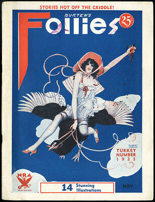 Complete Vintage November 1933 Burten's Follies Magazine Early Vargas Cover Art