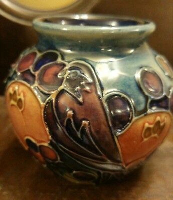 Moorcroft finch finches fruit pomegranate Sally Tuffin vase