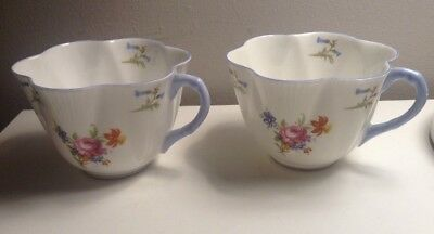 PAIR OF VINTAGE SHELLEY TEA CUPS DAINTY RANGE Bluebells and Roses