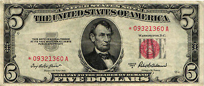 A 1953-A $5.00 United States Star Note - Abraham Lincoln - *09321360A  VF/XF