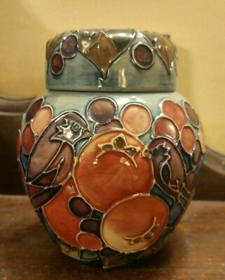 Moorcroft finch finches fruit pomegranate berries ginger jar Sally Tuffin