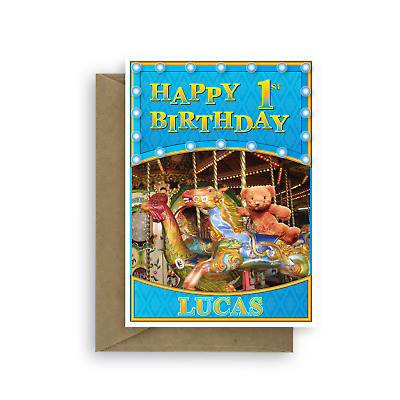 1st Happy Birthday Card For Boy Son Edit Name Personalised Bear Horse Blue