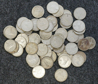 Lot of 57 80% Silver Canadian Dimes