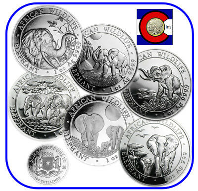 2013, 2014, 2015, 2016, 2017, 2018 Parade of Somalia Elephants Silver 6 Coins