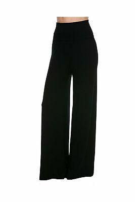 Superline Wide Leg High Fold Over Waist Palazzo Pants Black Solid X-Large