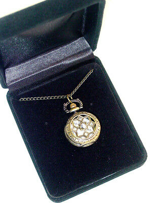Vintage Victorian Reproduction Style Pendant watch on a chain antique brass tone