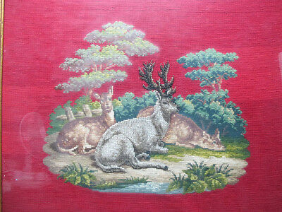 Antique/Vintage Needlepoint&Micro Seed Glass Bead Painting Laying Stag & Doe yqz