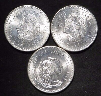 (3) 1947 Mexico Cinco 5 Peso Cuauhtemoc Silver Coins- All BU