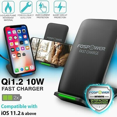 Qi Wireless Fast Charger Charging Pad Dock Stand Galaxy S9 Plus S8 iPhone X 8+
