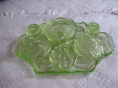 1920's VINTAGE GLASS DRESSING TABLE SET - REASONABLE CONDITION