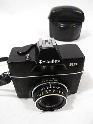 VTG ROLLEIFLEX SL26 CAMERA w ZEISS TESSAR 40mm 2.8 LENS & LEATHER CASE - WORKS
