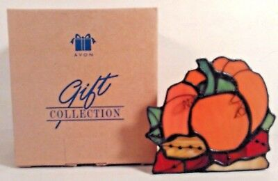 Avon Stained Glass Pumpkin Candle Holder Votive New