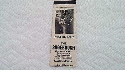 Old Vintage Matchbook Cover Sagebrush Club Casino Fallon NV Looks Unstruck