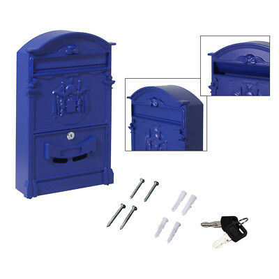 Vintage Retro Cast Wall Mount Mailbox Letter Safe Box with 2pcs Key Locked