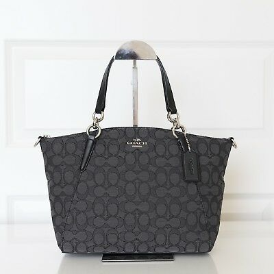 New Coach Outline Signature Small Kelsey Satchel Handbag in Black Smoke F58283