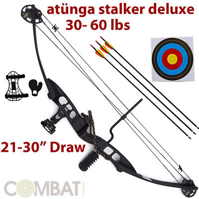 Atunga Stalker Black 20lbs -60lbs Compound Bow Deluxe Kit Archery Hunting NEW