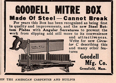 Ad Lot Of 4 1905-17  B Ads  Goodell Mitre Box Greenfield Mass