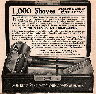 Ad Lot Of 5  1905 - 31 Ads Ever Ready Razor Buenos Aires 1,000 Shaves Yard Of