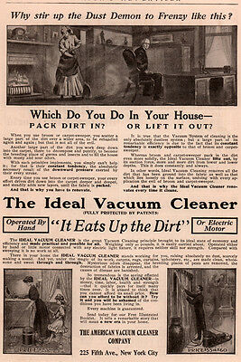 Ad Lot Of 2 1909 Ads American Vacuum Cleaner Ideal  Mom Daughter Dust Demon   Om