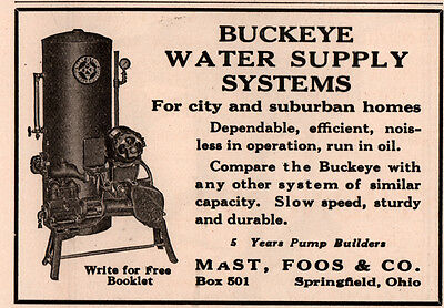 Ad Lot Of 2 1914 - 27 Ads A   Buckeye Water Supply Systems Mast Foos Co Pumps