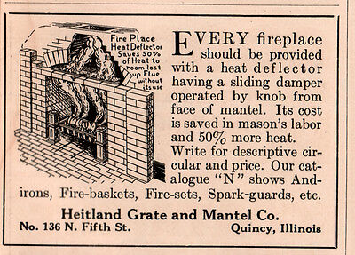 Ad Lot Of  4 1909 -17A Ads Heitland Grate And Mantel Hot Water Heater Fireplace
