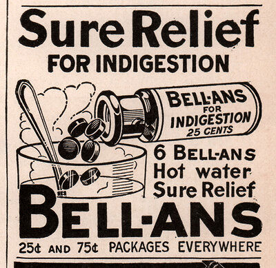 1921 Ad Bell Ans Indigestion Hot Water Sure Relief Bottle Tablets