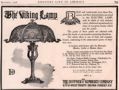 1906 Ad Duffner Kimberly Co Viking Lamp Electric Barbaric Colors Sea Monsters