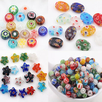 20Pcs Mixed Oval Star Millefiori Glass Loose Spacer For Jewelry Making Finding