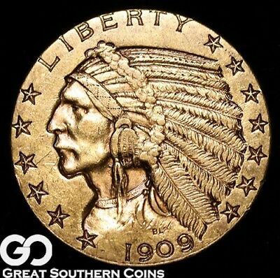 1909 Half Eagle, $5 Gold Indian ** Free Shipping!