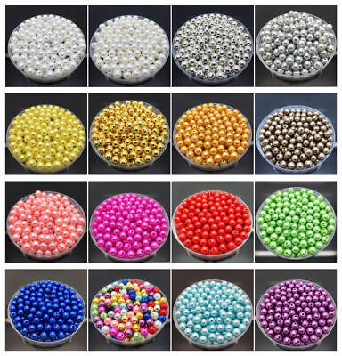4mm 6mm 8mm 10mm 12mm Acrylic Round Pearl Spacer Loose Bead Jewelry Making Craft