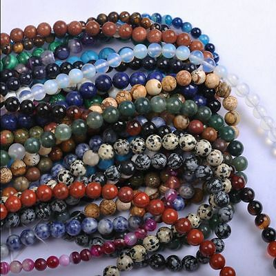 Lots 10-40Pcs Natural Round Spacer Loose Beads Stone For Jewelry Making 4-10MM