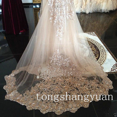 New Champagne Bridal Veils Sequin Cathedral Wedding Veils Custom + Comb In Stock