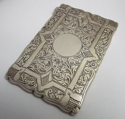 Beautiful Gothic English Antique Victorian 1892 Solid Silver Calling Card Case