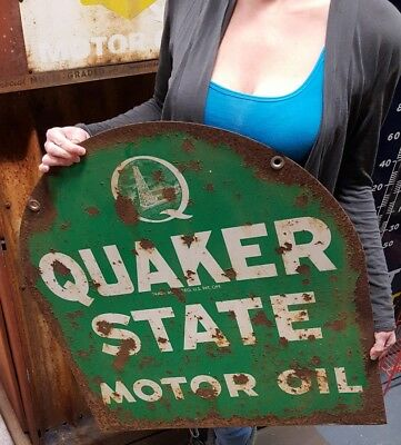 Vintage Advertising Metal Double Sided QUAKER STATE Tombstone Motor Oil Sign
